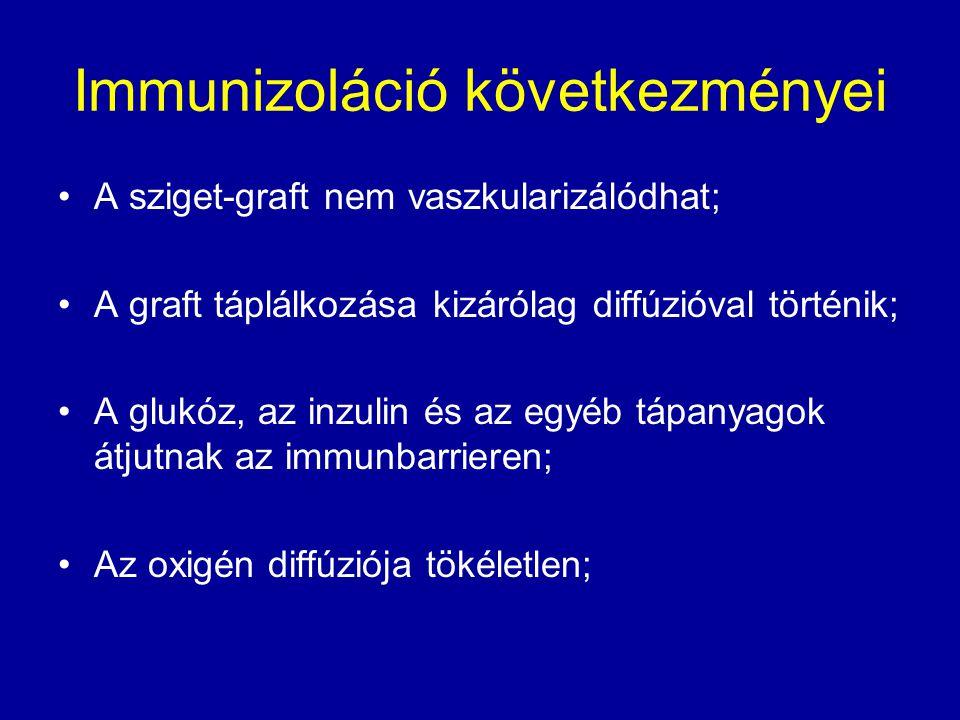 Immunizoláció következményei A sziget-graft nem vaszkularizálódhat; A graft táplálkozása kizárólag diffúzióval történik; A glukóz, az inzulin és az eg