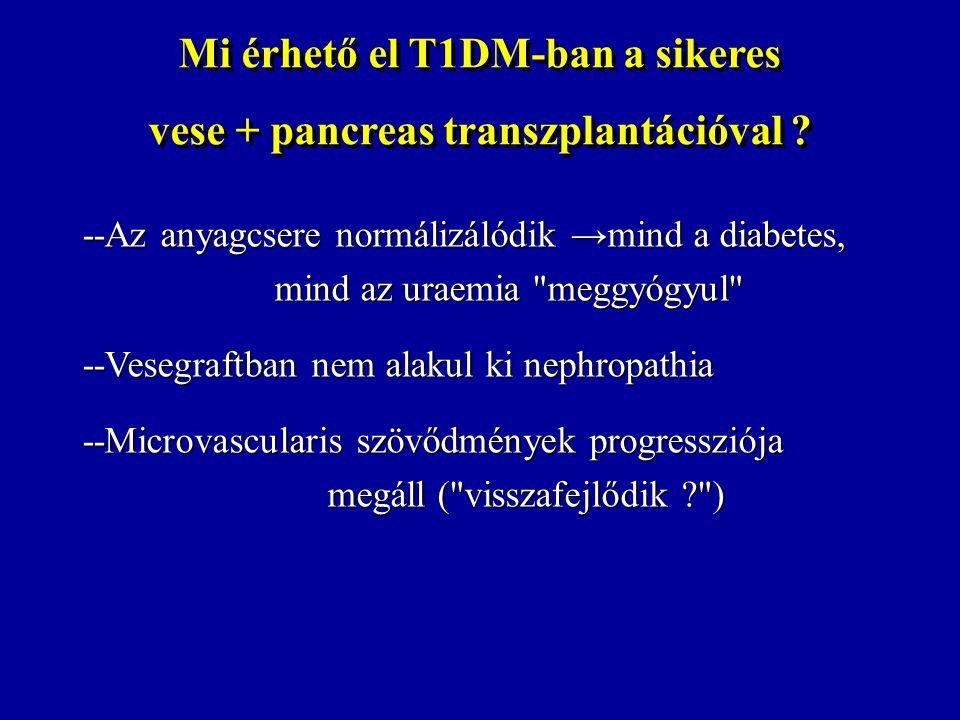 Mi érhető el T1DM-ban a sikeres vese + pancreas transzplantációval ? Mi érhető el T1DM-ban a sikeres vese + pancreas transzplantációval ? --Az anyagcs