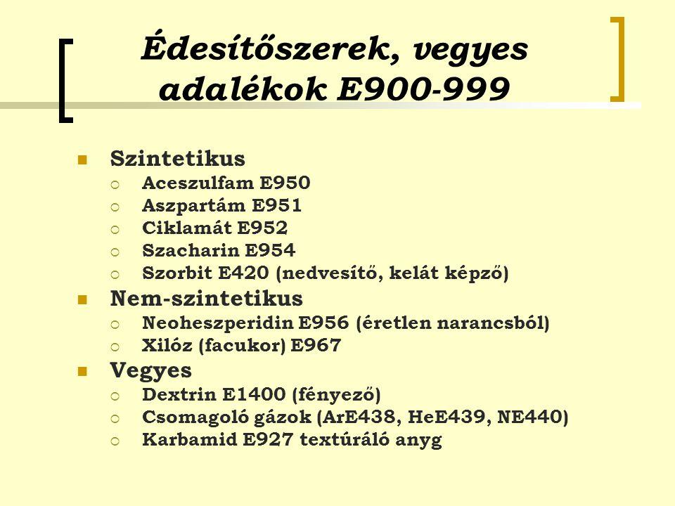 Édesítőszerek, vegyes adalékok E900-999 Szintetikus  Aceszulfam E950  Aszpartám E951  Ciklamát E952  Szacharin E954  Szorbit E420 (nedvesítő, kel