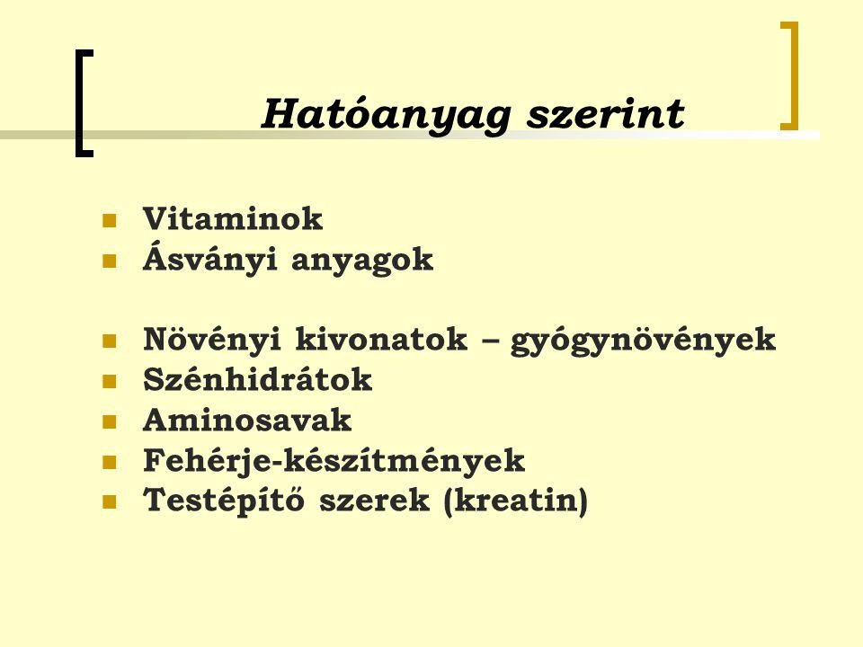 Hatóanyag szerint Vitaminok Ásványi anyagok Növényi kivonatok – gyógynövények Szénhidrátok Aminosavak Fehérje-készítmények Testépítő szerek (kreatin)