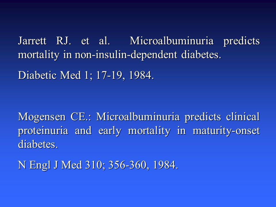 Jarrett RJ. et al. Microalbuminuria predicts mortality in non-insulin-dependent diabetes. Diabetic Med 1; 17-19, 1984. Mogensen CE.: Microalbuminuria