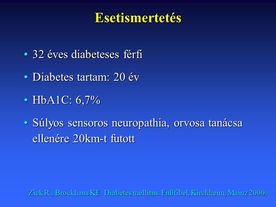 32 éves diabeteses férfi32 éves diabeteses férfi Diabetes tartam: 20 évDiabetes tartam: 20 év HbA1C: 6,7%HbA1C: 6,7% Súlyos sensoros neuropathia, orvo