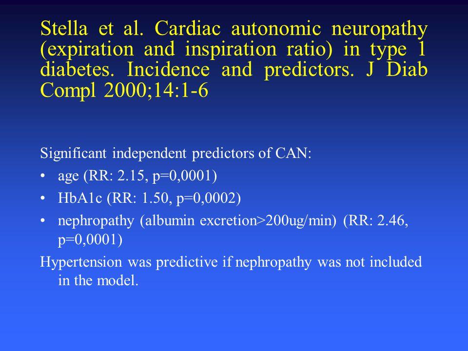Stella et al. Cardiac autonomic neuropathy (expiration and inspiration ratio) in type 1 diabetes. Incidence and predictors. J Diab Compl 2000;14:1-6 S