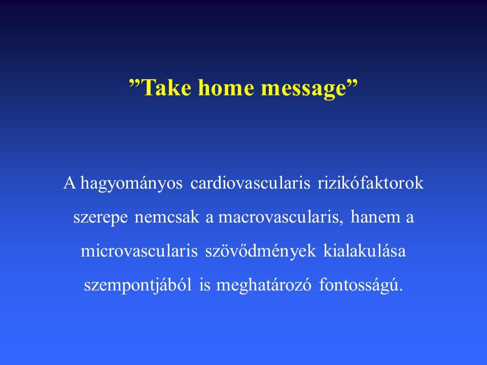 """""""Take home message"""" A hagyományos cardiovascularis rizikófaktorok szerepe nemcsak a macrovascularis, hanem a microvascularis szövődmények kialakulása"""