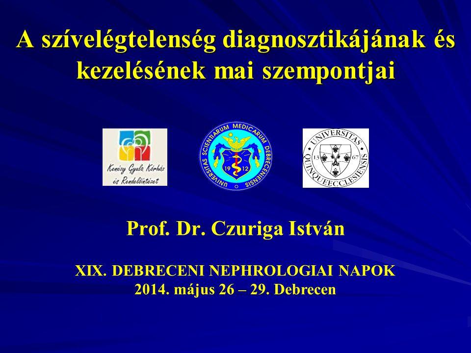 A szívelégtelenség diagnosztikájának és kezelésének mai szempontjai Prof. Dr. Czuriga István XIX. DEBRECENI NEPHROLOGIAI NAPOK 2014. május 26 – 29. De