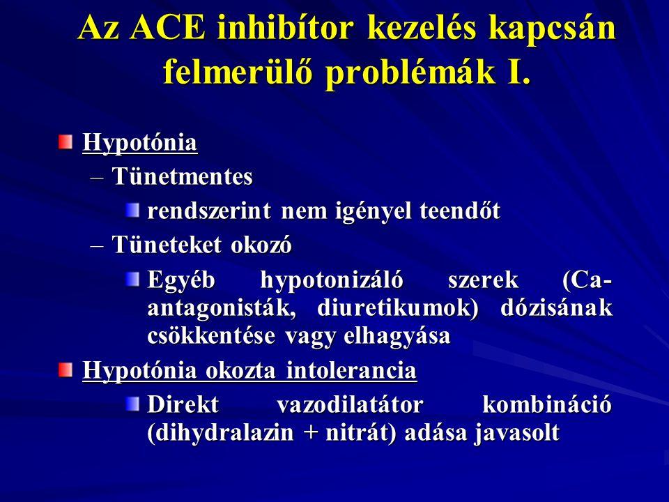 Hypotónia –Tünetmentes rendszerint nem igényel teendőt rendszerint nem igényel teendőt –Tüneteket okozó Egyéb hypotonizáló szerek (Ca- antagonisták, d