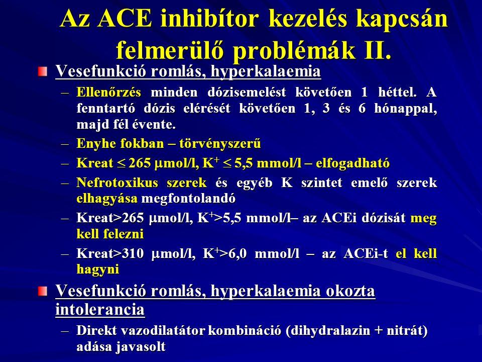 Az ACE inhibítor kezelés kapcsán felmerülő problémák II. Vesefunkció romlás, hyperkalaemia –Ellenőrzés minden dózisemelést követően 1 héttel. A fennta