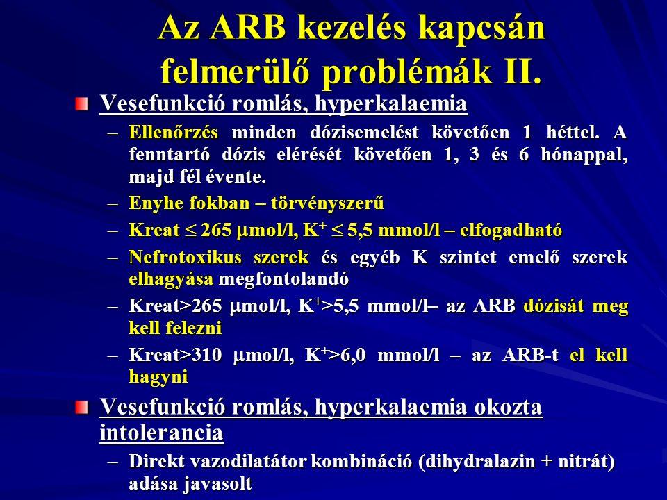 Az ARB kezelés kapcsán felmerülő problémák II. Vesefunkció romlás, hyperkalaemia –Ellenőrzés minden dózisemelést követően 1 héttel. A fenntartó dózis