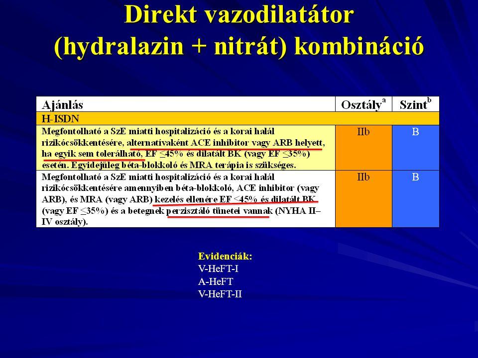 Direkt vazodilatátor (hydralazin + nitrát) kombináció Evidenciák: V-HeFT-I A-HeFT V-HeFT-II
