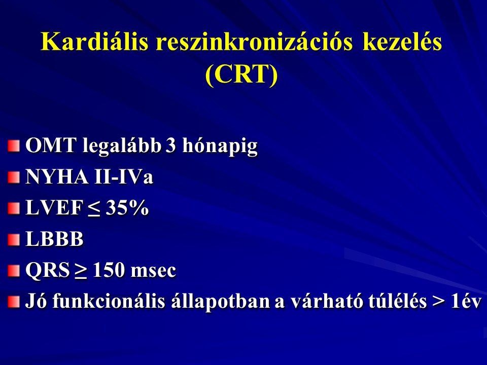 Kardiális reszinkronizációs kezelés (CRT) OMT legalább 3 hónapig NYHA II-IVa LVEF ≤ 35% LBBB QRS ≥ 150 msec Jó funkcionális állapotban a várható túlél