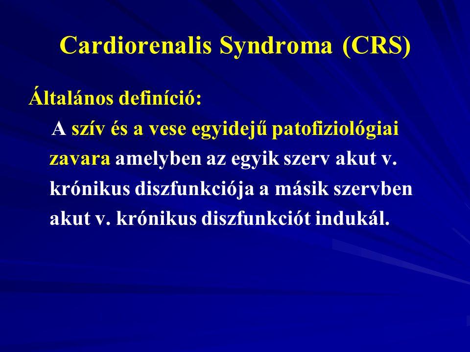 Cardiorenalis Syndroma (CRS) Általános definíció: A szív és a vese egyidejű patofiziológiai zavara amelyben az egyik szerv akut v. krónikus diszfunkci