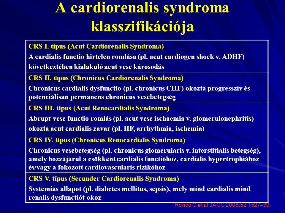 A cardiorenalis syndroma klasszifikációja CRS I. típus (Acut Cardiorenalis Syndroma) A cardialis functio hirtelen romlása (pl. acut cardiogen shock v.