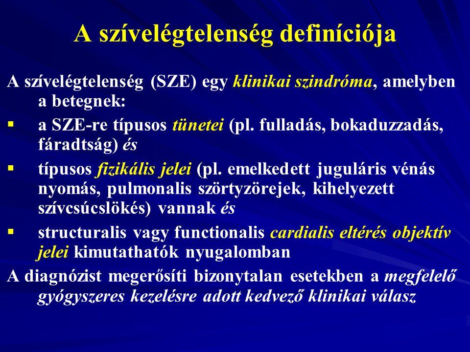 A szívelégtelenség definíciója A szívelégtelenség (SZE) egy klinikai szindróma, amelyben a betegnek:   a SZE-re típusos tünetei (pl. fulladás, bokad