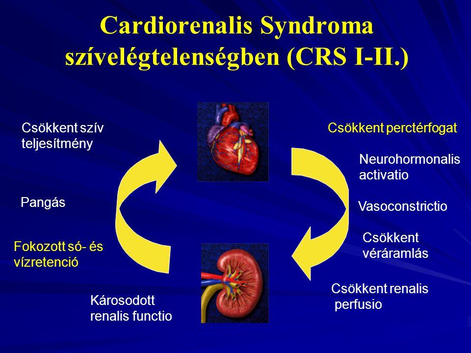 Csökkent perctérfogat Károsodott renalis functio Csökkent renalis perfusio Fokozott só- és vízretenció Csökkent véráramlás Neurohormonalis activatio C