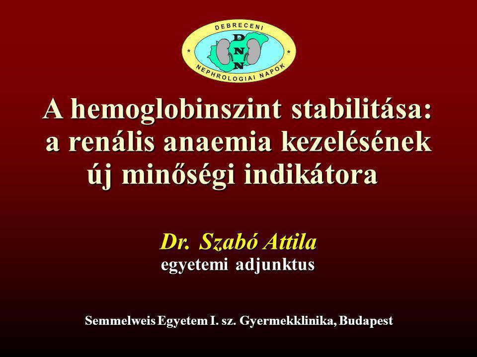 A hemoglobinszint stabilitása: a renális anaemia kezelésének új minőségi indikátora Dr.