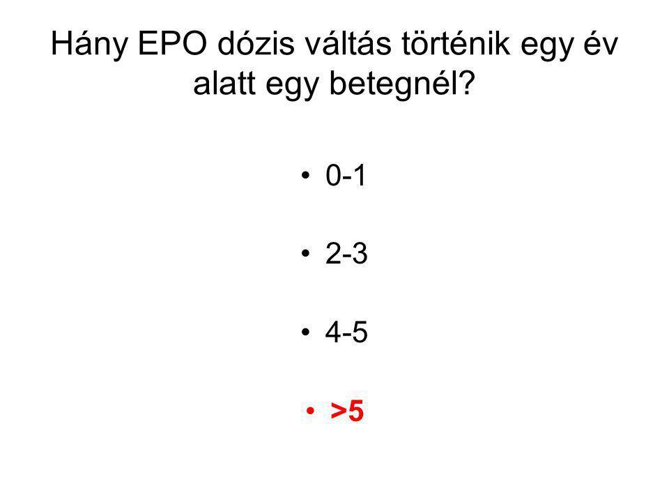 Hány EPO dózis váltás történik egy év alatt egy betegnél 0-1 2-3 4-5 >5