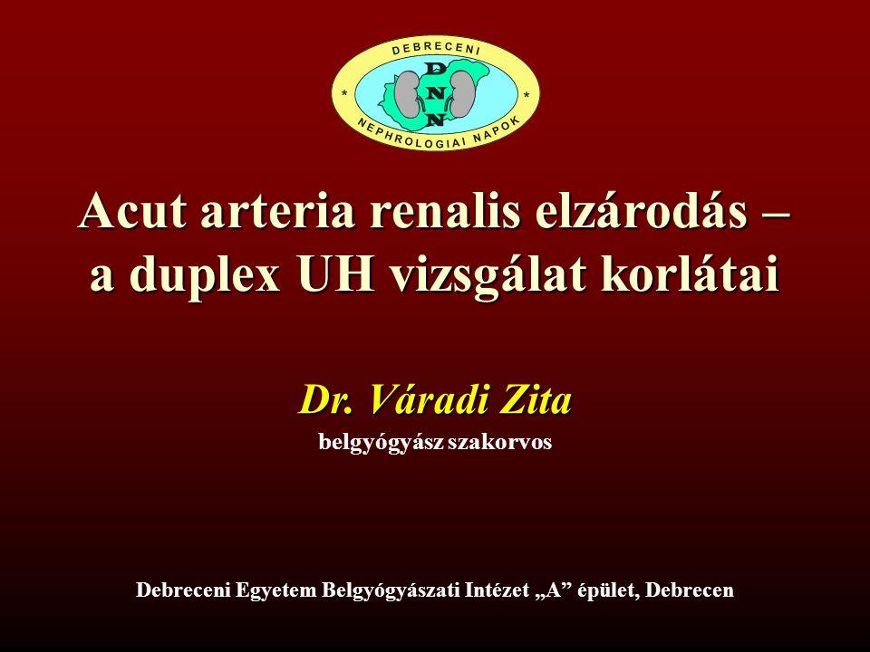 """Acut arteria renalis elzárodás – a duplex UH vizsgálat korlátai belgyógyász szakorvos Dr. Váradi Zita Debreceni Egyetem Belgyógyászati Intézet """"A"""" épü"""