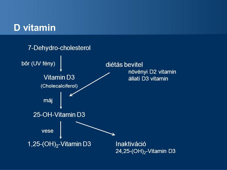 D vitamin 7-Dehydro-cholesterol Vitamin D3 (Cholecalciferol) 25-OH-Vitamin D3 1,25-(OH) 2 -Vitamin D3 bőr (UV fény) máj vese diétás bevitel növényi D2