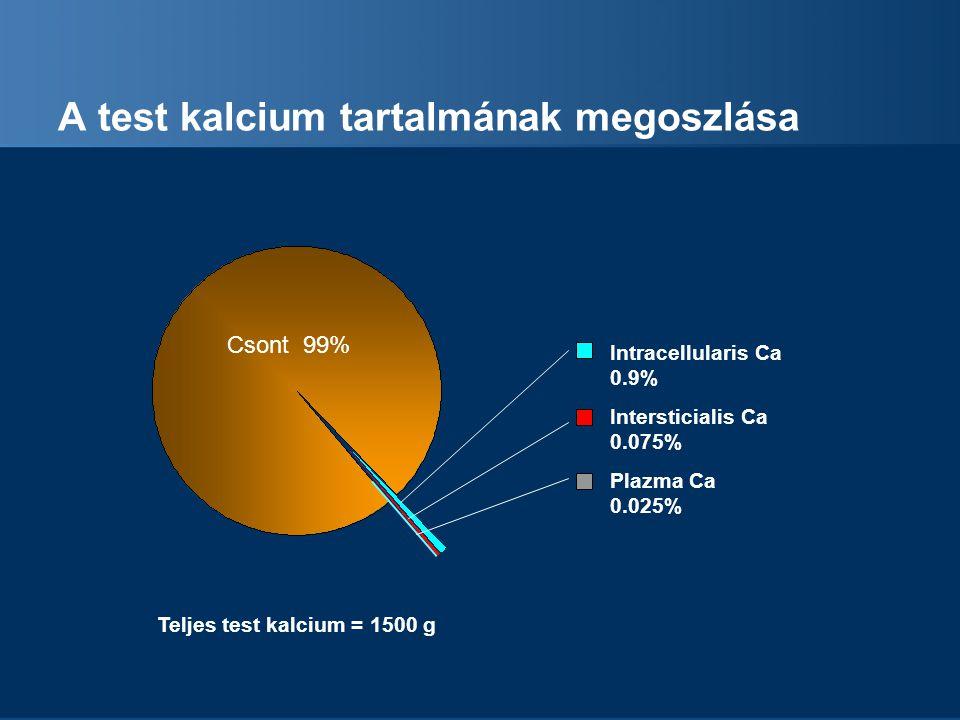 A test kalcium tartalmának megoszlása Intracellularis Ca 0.9% Intersticialis Ca 0.075% Plazma Ca 0.025% Teljes test kalcium = 1500 g Csont 99%