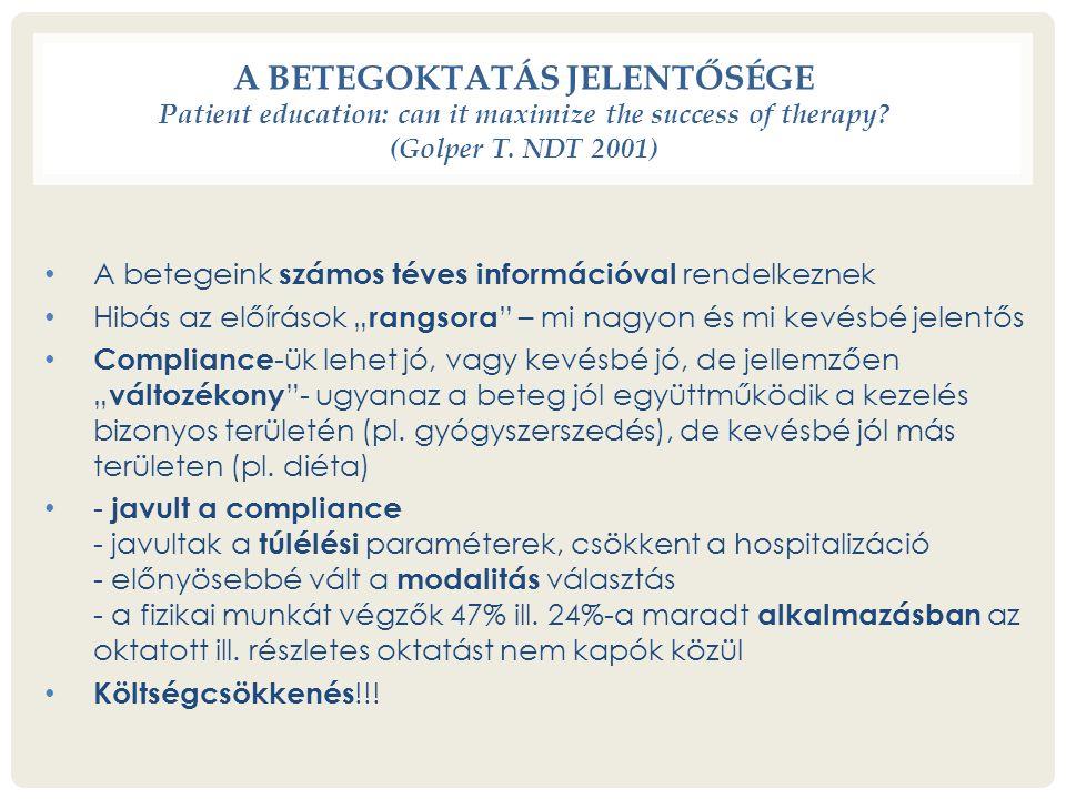 A BETEGOKTATÁS JELENTŐSÉGE Patient education: can it maximize the success of therapy.