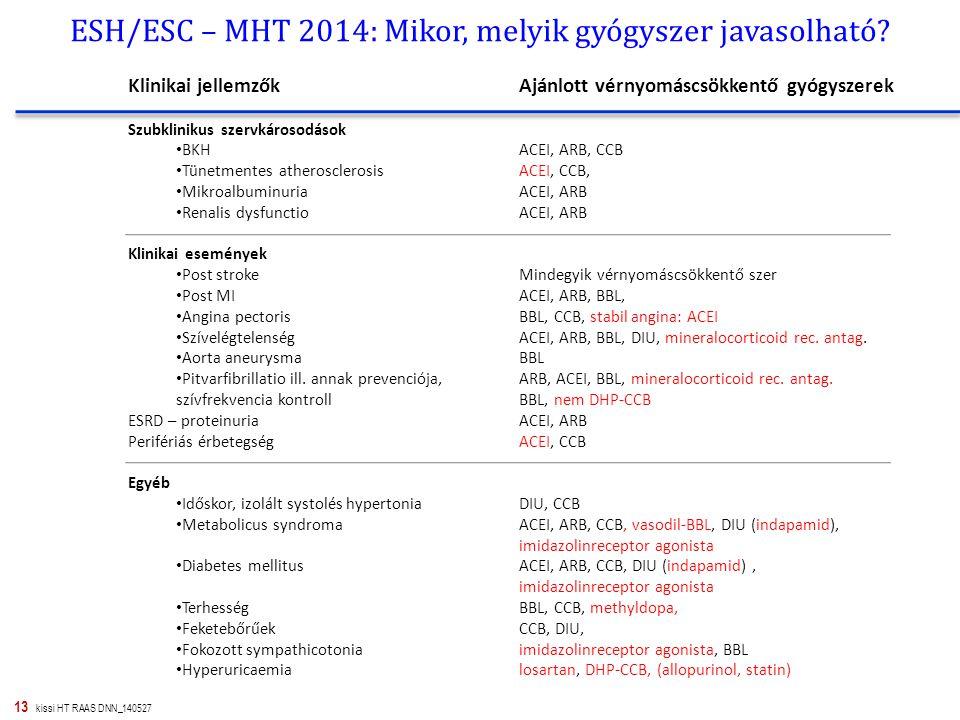 13 kissi HT RAAS DNN_140527 ESH/ESC – MHT 2014: Mikor, melyik gyógyszer javasolható? Klinikai jellemzők Szubklinikus szervkárosodások BKH Tünetmentes