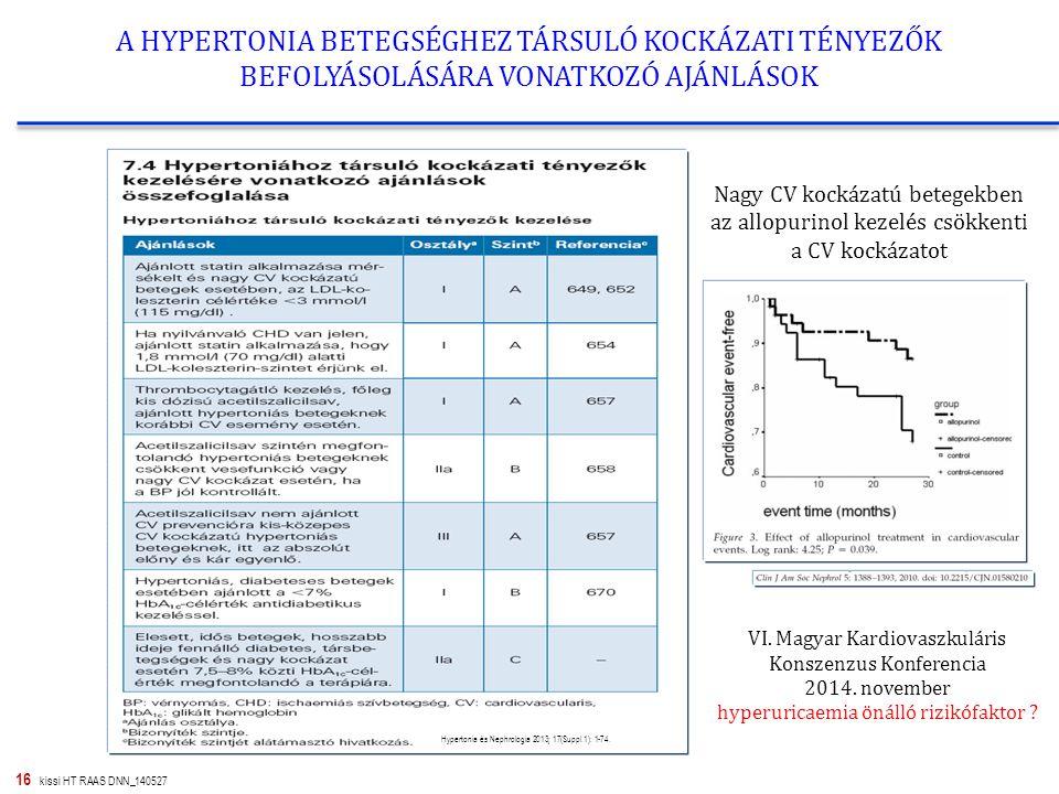 16 kissi HT RAAS DNN_140527 A HYPERTONIA BETEGSÉGHEZ TÁRSULÓ KOCKÁZATI TÉNYEZŐK BEFOLYÁSOLÁSÁRA VONATKOZÓ AJÁNLÁSOK Hypertonia és Nephrologia 2013; 17(Suppl.1): 1-74.