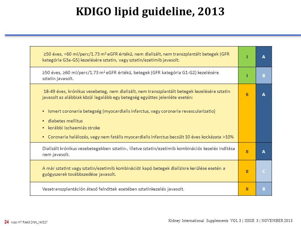 24 kissi HT RAAS DNN_140527 KDIGO lipid guideline, 2013 ≥50 éves, <60 ml/perc/1.73 m 2 eGFR értékű, nem dializált, nem transzplantált betegek (GFR kat