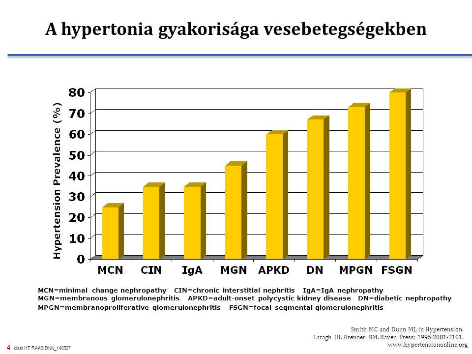 4 kissi HT RAAS DNN_140527 A hypertonia gyakorisága vesebetegségekben MCN=minimal change nephropathy CIN=chronic interstitial nephritis IgA=IgA nephro