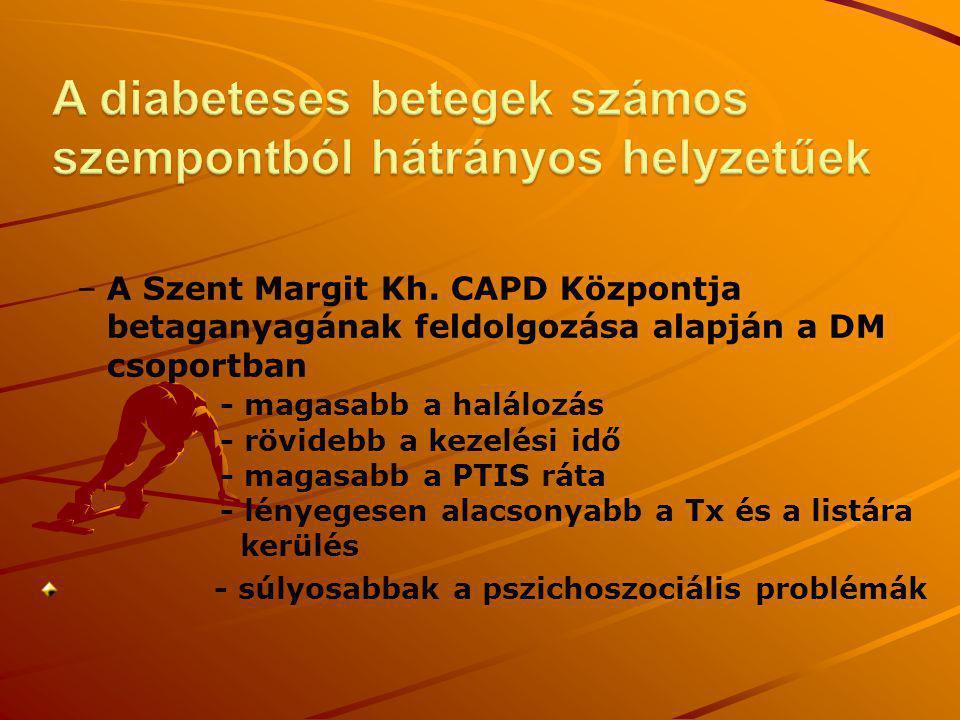 – –A Szent Margit Kh. CAPD Központja betaganyagának feldolgozása alapján a DM csoportban - magasabb a halálozás - rövidebb a kezelési idő - magasabb a