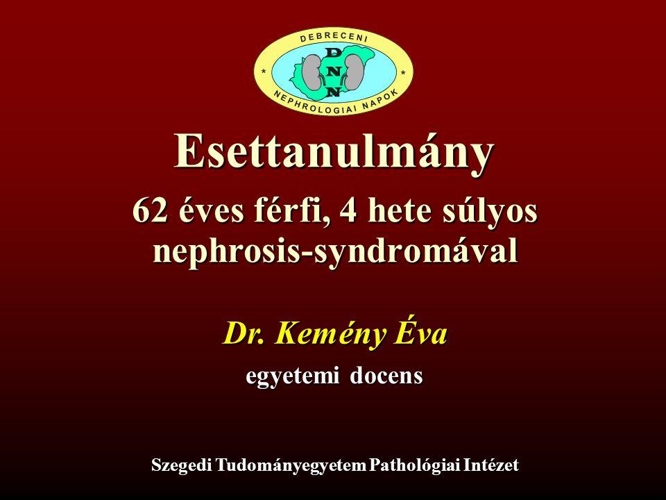 Esettanulmány 62 éves férfi, 4 hete súlyos nephrosis-syndromával Dr. Kemény Éva egyetemi docens Szegedi Tudományegyetem Pathológiai Intézet