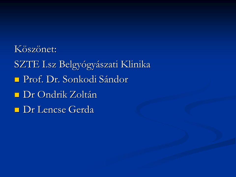 Köszönet: SZTE I.sz Belgyógyászati Klinika Prof. Dr. Sonkodi Sándor Prof. Dr. Sonkodi Sándor Dr Ondrik Zoltán Dr Ondrik Zoltán Dr Lencse Gerda Dr Lenc