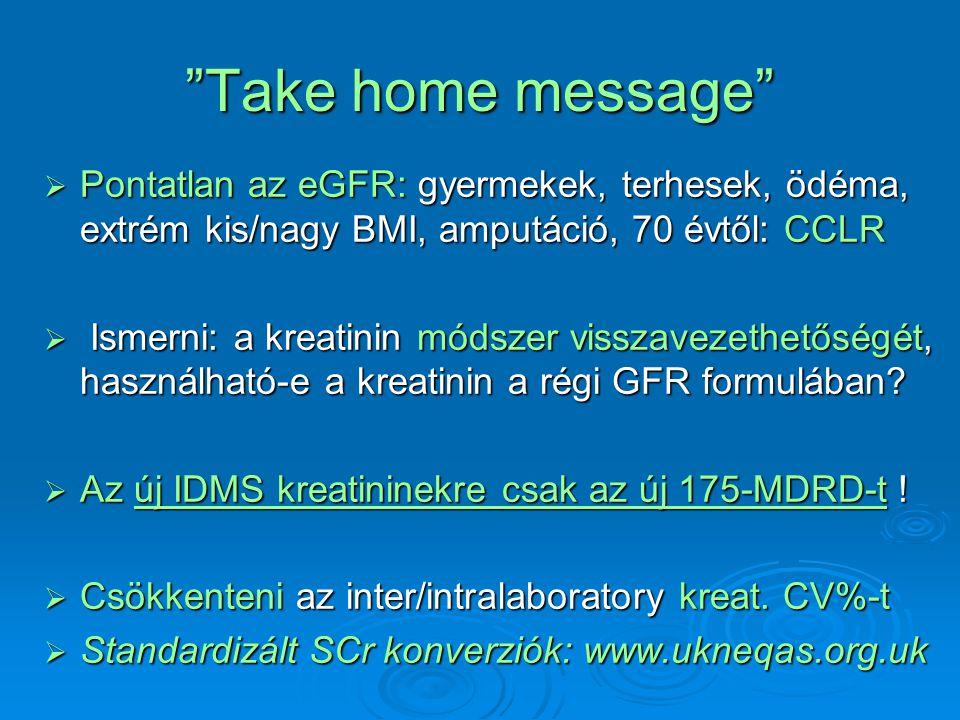 """""""Take home message""""  Pontatlan az eGFR: gyermekek, terhesek, ödéma, extrém kis/nagy BMI, amputáció, 70 évtől: CCLR  Ismerni: a kreatinin módszer vis"""