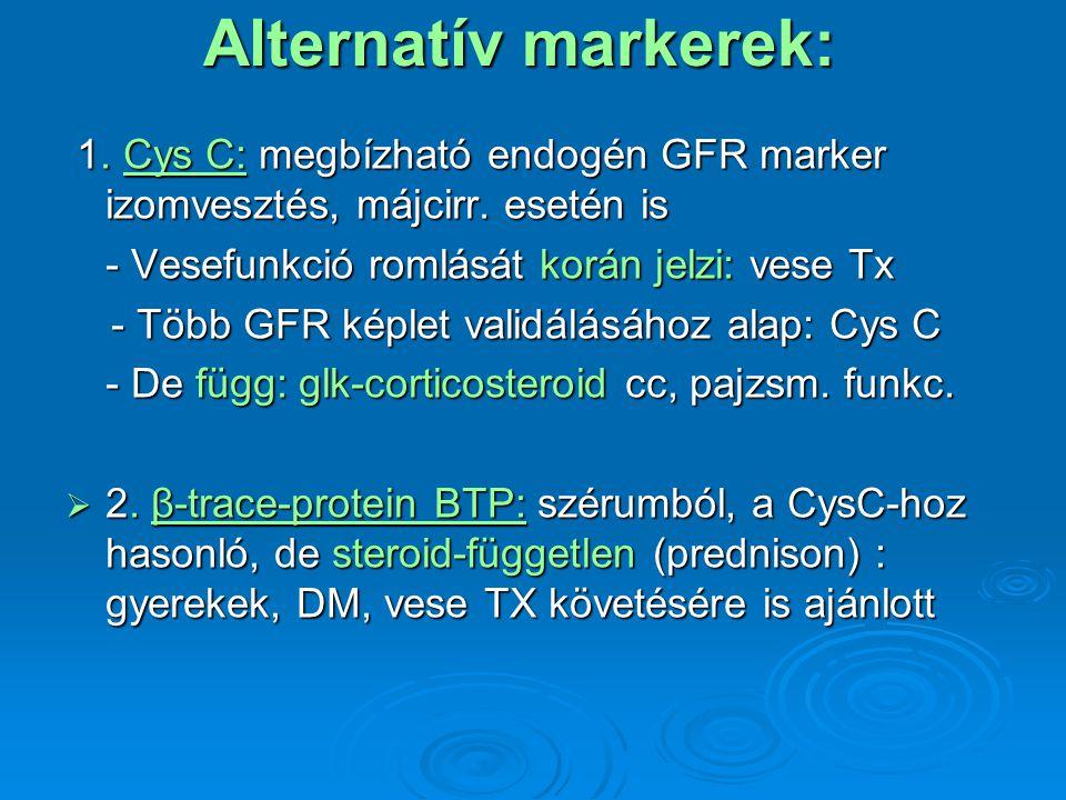 Alternatív markerek: 1. Cys C: megbízható endogén GFR marker izomvesztés, májcirr. esetén is 1. Cys C: megbízható endogén GFR marker izomvesztés, májc