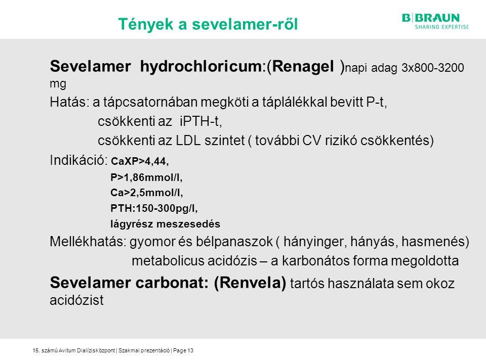 15. számú Avitum Dialízisközpont | Szakmai prezentáció | Page13 Sevelamer hydrochloricum:(Renagel ) napi adag 3x800-3200 mg Hatás: a tápcsatornában me