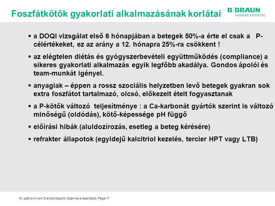 15. számú Avitum Dialízisközpont | Szakmai prezentáció | Page17  a DOQI vizsgálat első 6 hónapjában a betegek 50%-a érte el csak a P- célértékeket, e
