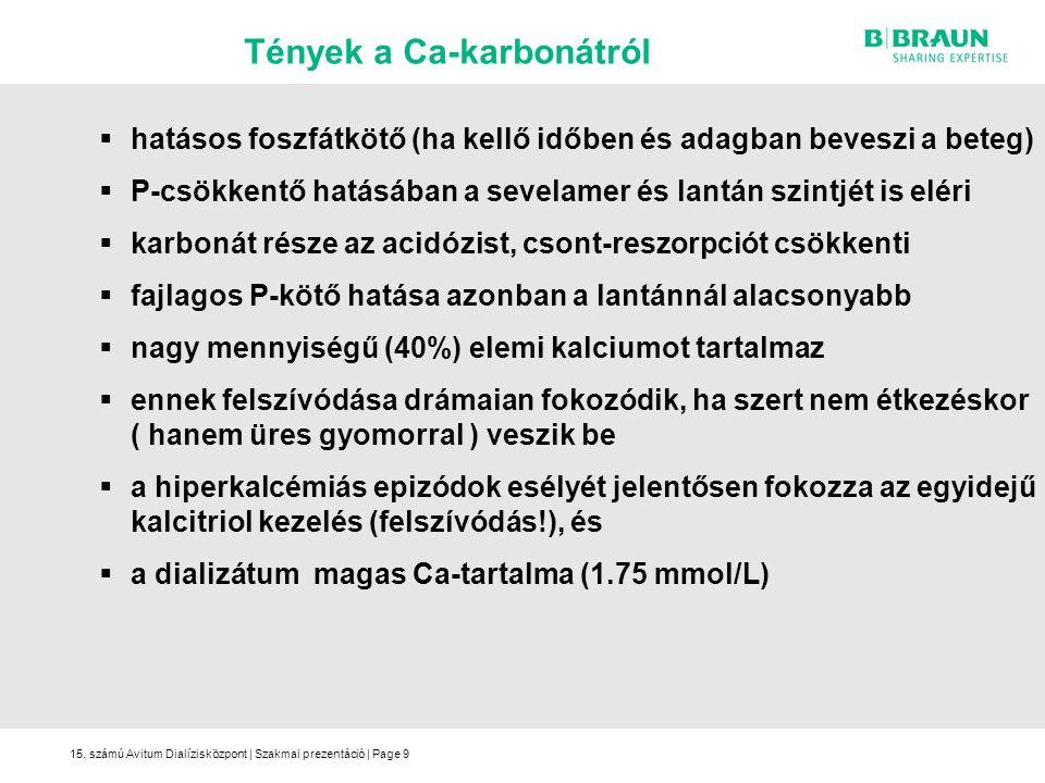 15. számú Avitum Dialízisközpont | Szakmai prezentáció | Page9  hatásos foszfátkötő (ha kellő időben és adagban beveszi a beteg)  P-csökkentő hatásá