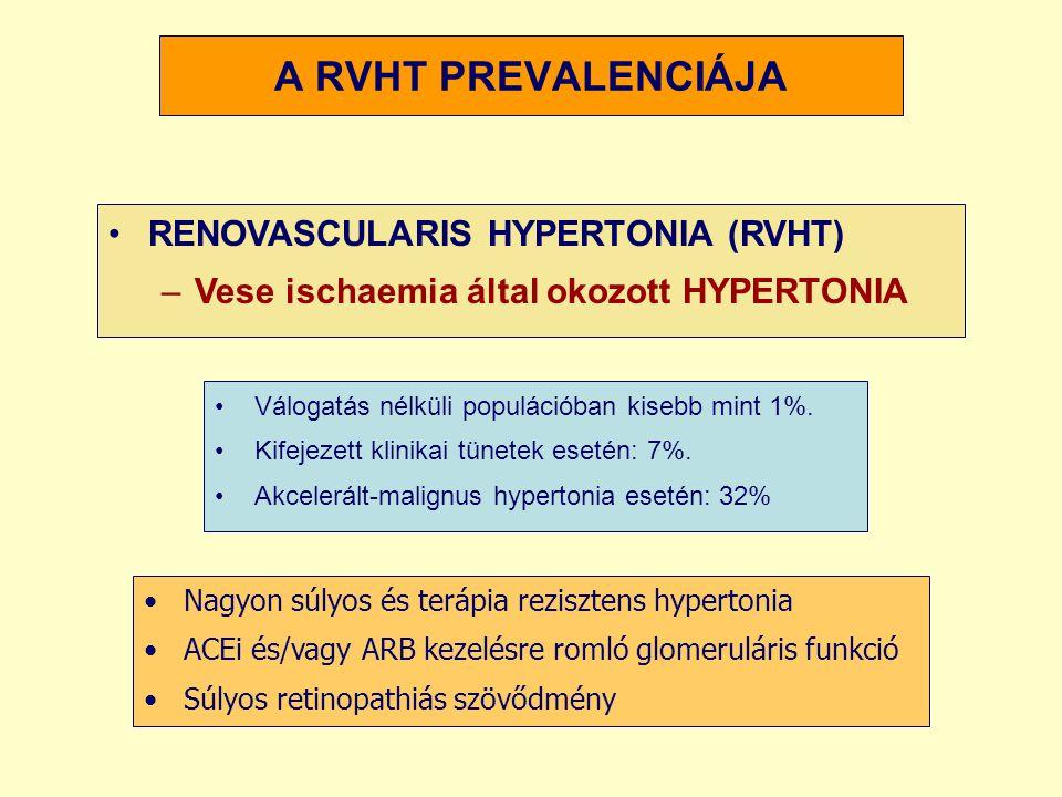 A RVHT PREVALENCIÁJA Válogatás nélküli populációban kisebb mint 1%. Kifejezett klinikai tünetek esetén: 7%. Akcelerált-malignus hypertonia esetén: 32%