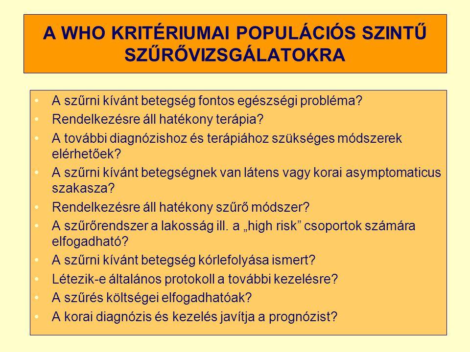 A WHO KRITÉRIUMAI POPULÁCIÓS SZINTŰ SZŰRŐVIZSGÁLATOKRA A szűrni kívánt betegség fontos egészségi probléma? Rendelkezésre áll hatékony terápia? A továb