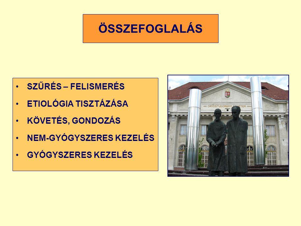 ÖSSZEFOGLALÁS SZŰRÉS – FELISMERÉS ETIOLÓGIA TISZTÁZÁSA KÖVETÉS, GONDOZÁS NEM-GYÓGYSZERES KEZELÉS GYÓGYSZERES KEZELÉS