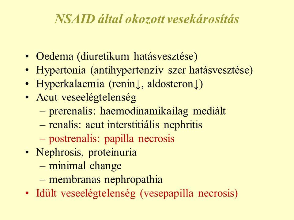 NSAID által okozott vesekárosítás Oedema (diuretikum hatásvesztése) Hypertonia (antihypertenzív szer hatásvesztése) Hyperkalaemia (renin↓, aldosteron↓