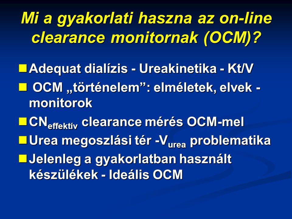 "Mi a gyakorlati haszna az on-line clearance monitornak (OCM)? Adequat dialízis - Ureakinetika - Kt/V Adequat dialízis - Ureakinetika - Kt/V OCM ""törté"