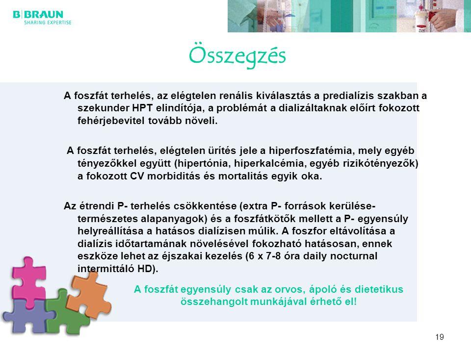 19 Összegzés A foszfát terhelés, az elégtelen renális kiválasztás a predialízis szakban a szekunder HPT elindítója, a problémát a dializáltaknak előír