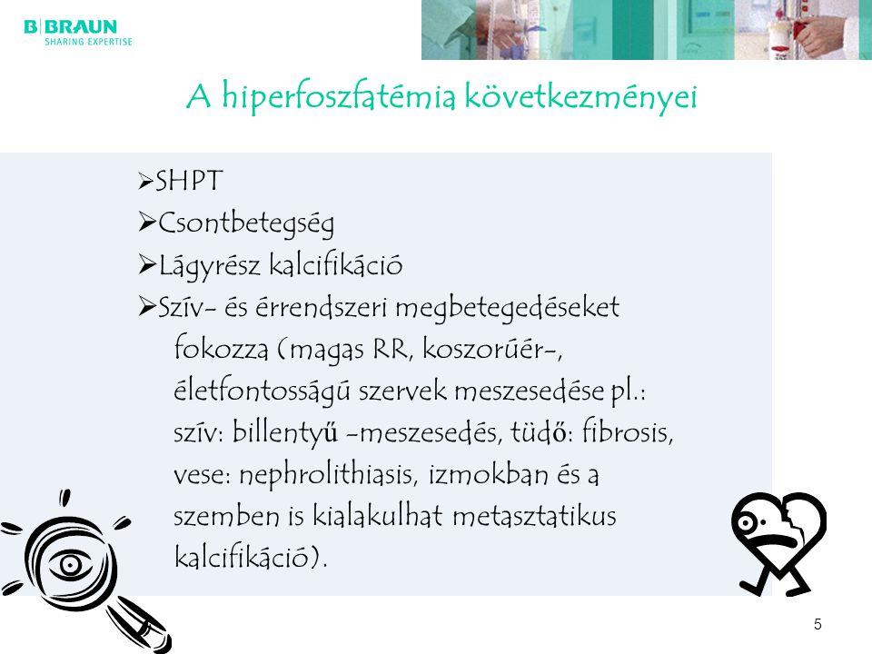 5 A hiperfoszfatémia következményei  SHPT  Csontbetegség  Lágyrész kalcifikáció  Szív- és érrendszeri megbetegedéseket fokozza (magas RR, koszorúé