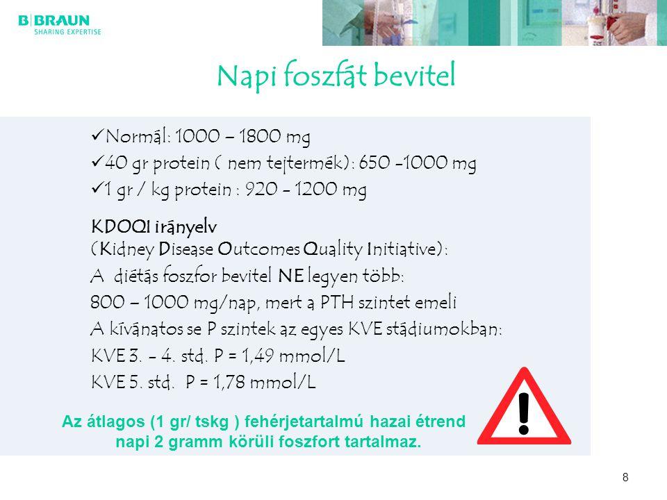 8 Napi foszfát bevitel Normál: 1000 – 1800 mg 40 gr protein ( nem tejtermék): 650 -1000 mg 1 gr / kg protein : 920 - 1200 mg KDOQI irányelv (Kidney Di