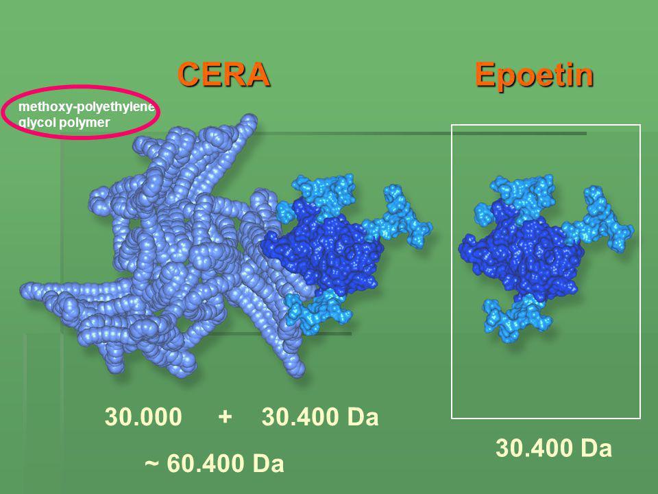 Epoetin CERA 30.000 + 30.400 Da ~ 60.400 Da 30.400 Da methoxy-polyethylene glycol polymer