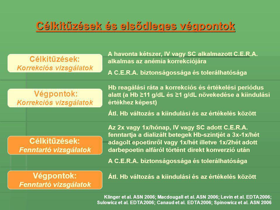 Célkitűzések és elsődleges végpontok Célkitűzések: Korrekciós vizsgálatok A havonta kétszer, IV vagy SC alkalmazott C.E.R.A. alkalmas az anémia korrek