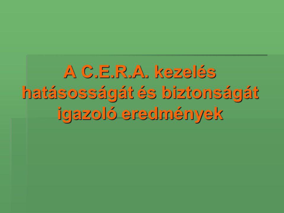 A C.E.R.A. kezelés hatásosságát és biztonságát igazoló eredmények