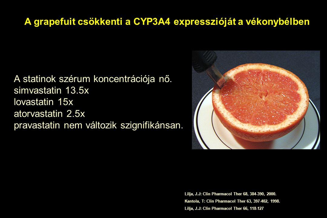 A statinok szérum koncentrációja nő. simvastatin 13.5x lovastatin 15x atorvastatin 2.5x pravastatin nem változik szignifikánsan. Lilja, J.J: Clin Phar