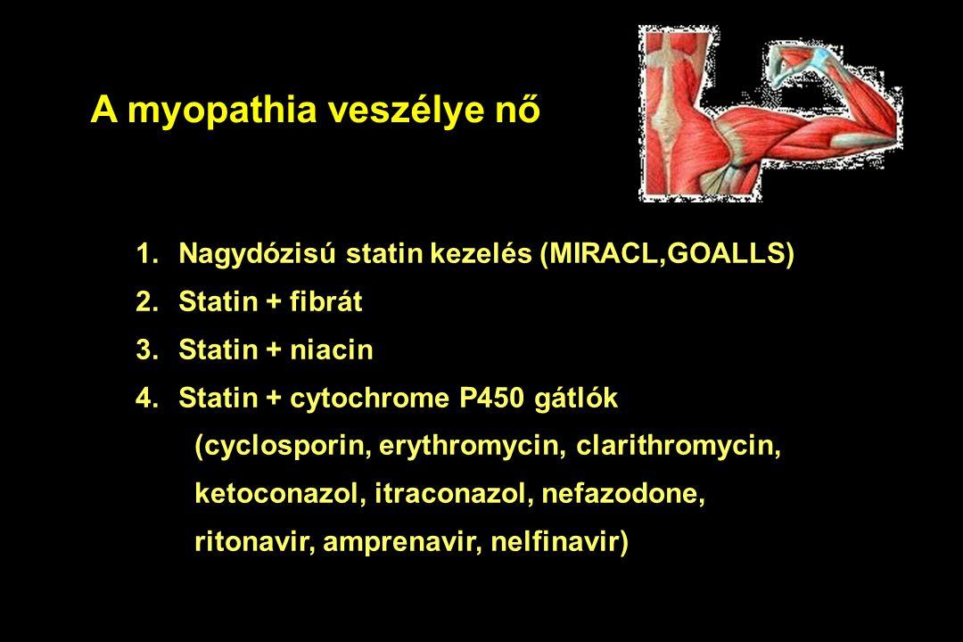 A myopathia veszélye nő 1.Nagydózisú statin kezelés (MIRACL,GOALLS) 2.Statin + fibrát 3.Statin + niacin 4.Statin + cytochrome P450 gátlók (cyclosporin