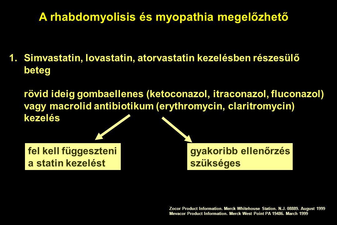A rhabdomyolisis és myopathia megelőzhető 1.Simvastatin, lovastatin, atorvastatin kezelésben részesülő beteg rövid ideig gombaellenes (ketoconazol, it